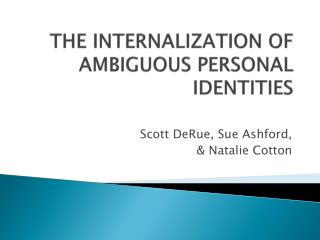 The internalization of ambiguous personal identities