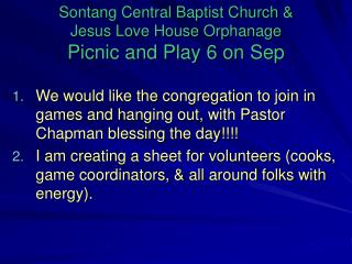 Sontang Central Baptist Church &  Jesus Love House Orphanage Picnic and Play 6 on Sep