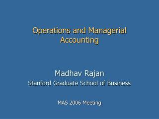 Operations and Managerial Accounting