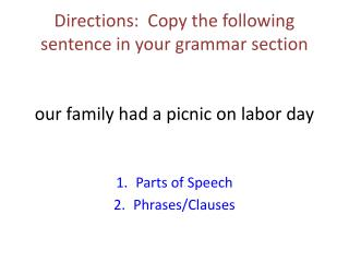 Parts of Speech Phrases/Clauses