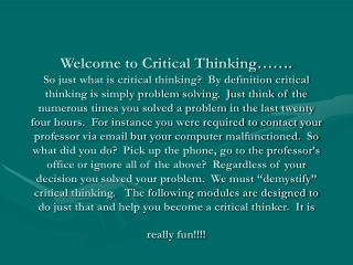 Deconstructing Critical Thinking