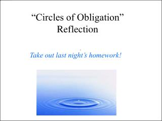"""Circles of Obligation"" Reflection"