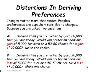 Distortions In Deriving Preferences