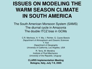 ISSUES ON MODELING THE WARM SEASON CLIMATE    IN SOUTH AMERICA