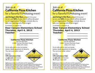 Fundraiser in support of Deer Canyon Elementary School Thursday, April 4, 2013