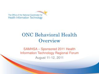 ONC Behavioral Health Overview