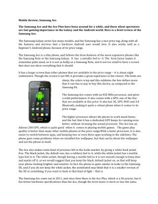 Mobile Review: Samsung Ace