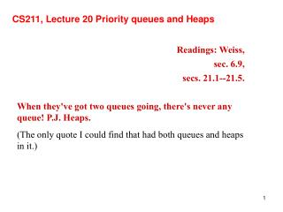 CS211, Lecture 20 Priority queues and Heaps