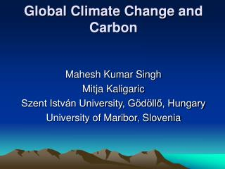 Global Climate Change and Carbon