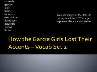 How the Garcia Girls Lost Their Accents – Vocab Set 2