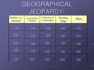GEOGRAPHICAL JEOPARDY!