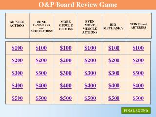 O&P Board Review Game