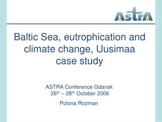 Baltic Sea, eutrophication and climate change, Uusimaa case study