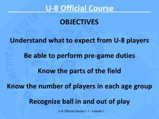 U-8 Official Course