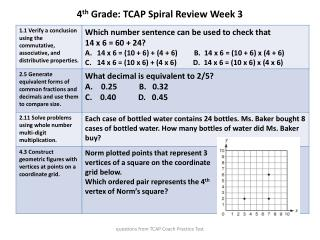4 th  Grade: TCAP Spiral Review  Week 3