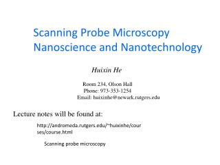 Scanning Probe Microscopy Nanoscience and Nanotechnology