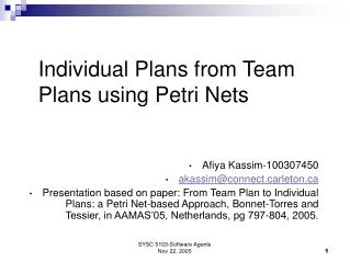 Individual Plans from Team Plans using Petri Nets