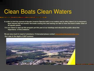 Clean Boats Clean Waters