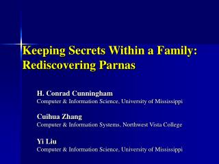 Keeping Secrets Within a Family: Rediscovering Parnas