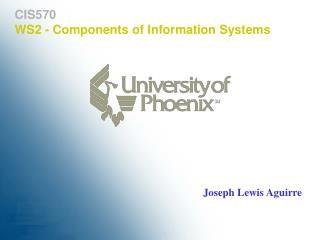 CIS570 WS2 - Components of Information Systems