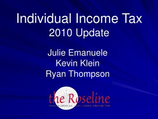 Individual Income Tax 2010 Update