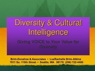 Brim-Donahoe & Associates • LueRachelle Brim-Atkins 7611 So. 115th Street • Seattle, WA 98178 (206) 722-440