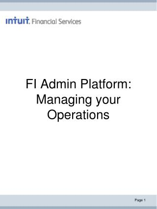 FI Admin Platform: Managing your Operations