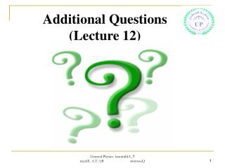 Additional Questions (Lecture 12)