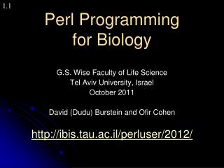 Perl Programming for Biology
