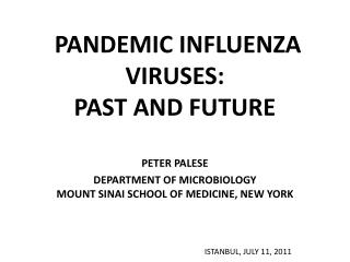 PANDEMIC INFLUENZA VIRUSES:  PAST AND FUTURE