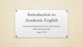 Introduction to Academic English
