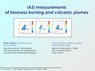 IASI measurements  of biomass burning and volcanic plumes