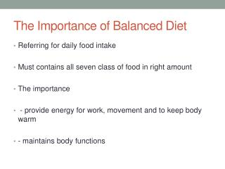 The Importance of Balanced Diet