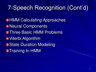 7- Speech Recognition (Cont'd)