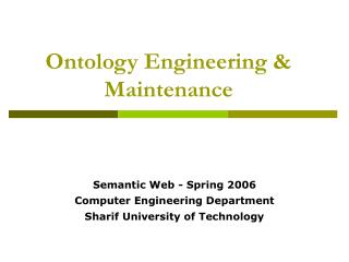 Ontology Engineering & Maintenance