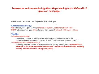 Transverse emittances during Abort Gap cleaning tests 30-Sep-2010 (plots on next page)