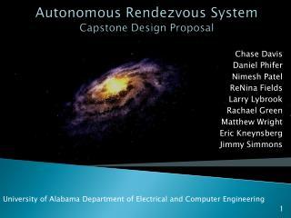 Autonomous Rendezvous System Capstone Design Proposal