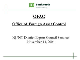 NJ/NY District Export Council Seminar November 14, 2006