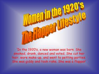 Women in the 1920's The Flapper Lifestyle