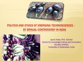 Politics and Ethics of Emerging Technosciences :  Bt  Brinjal Controversy in India