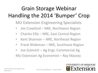 Grain Storage Webinar Handling the 2014 'Bumper' Crop