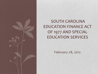 South Carolina Education Finance Act of  1977 and Special Education Services