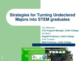 Strategies for Turning Undeclared Majors into STEM graduates