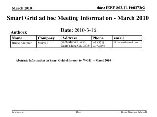Smart Grid ad hoc Meeting Information - March 2010