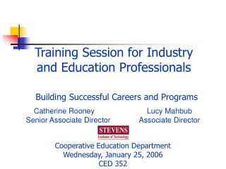 Training Session for Industry and Education Professionals