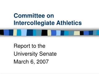 Committee on Intercollegiate Athletics