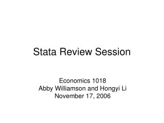 Stata Review Session