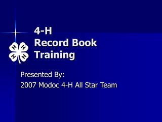 4-H  Record Book  Training