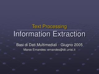 Text Processing Information Extraction