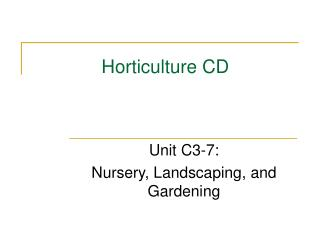 Horticulture CD